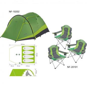 Комплект NORFIN: палатка 4-х местная RUDD 3+1 NF + 3 складных кресла RAUMA