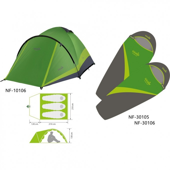 Комплект NORFIN: палатка 3-х мест. PERCH 3 NF + 2 спальных мешка-одеяла SCANDIC NF-10106K1